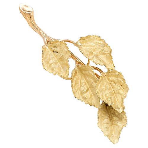 18K Gold Leaf Branch Brooch/Pendant