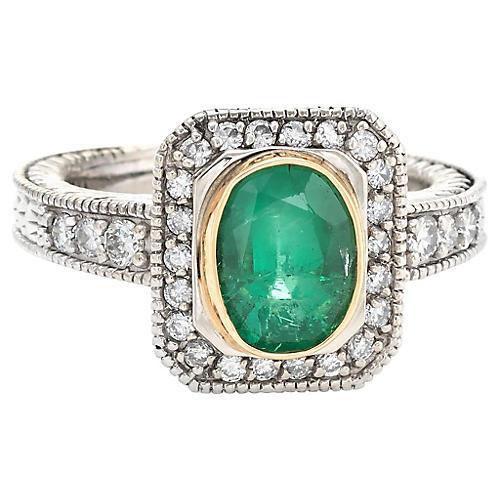 14K Gold, Emerald & Diamond Ring
