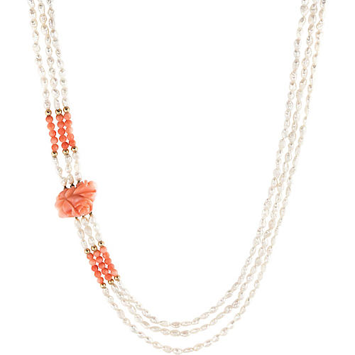 3-Strand Pearl & Carved Coral Necklace