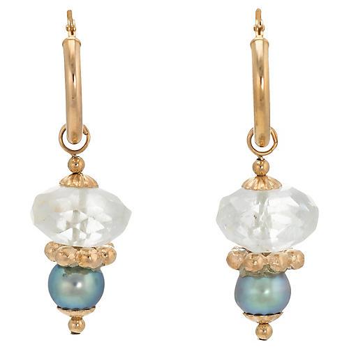 14K Gold & Cultured Pearl Hoop Earrings