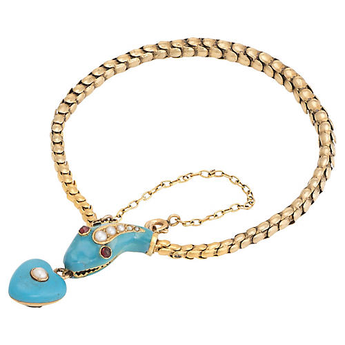18K Victorian Gold Snake Bracelet