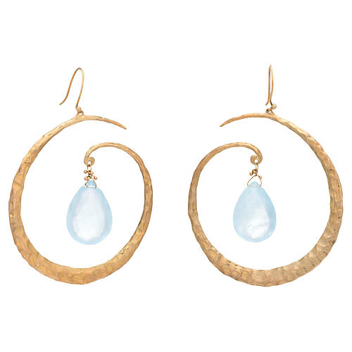 Aquamarine Large Hoop Drop Earrings