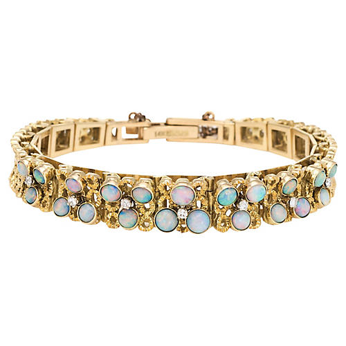 14K Gold Opal Bracelet, C. 1970