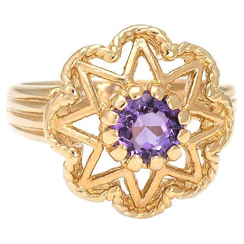 14K Gold & Amethyst Star Ring