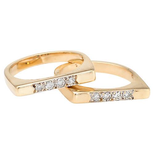 14K Gold & Diamond Stacking Rings, S/2