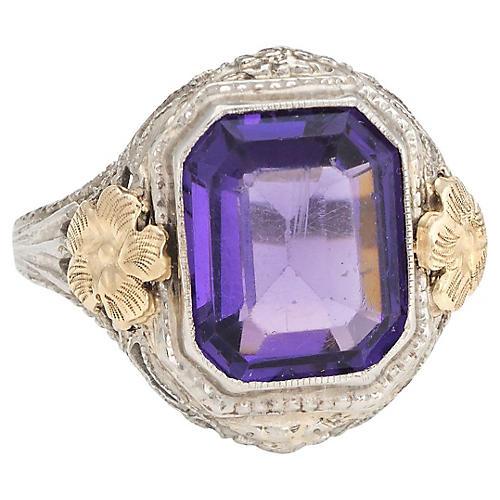Art Deco Amethyst Glass Filigree Ring