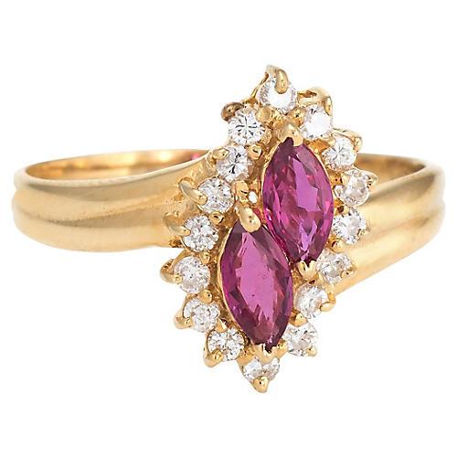 Ruby & Diamond Cocktail Ring