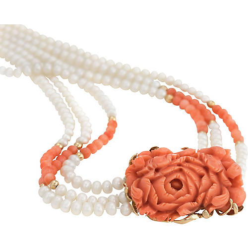 """32"""" Carved Coral & Pearl Necklace"""