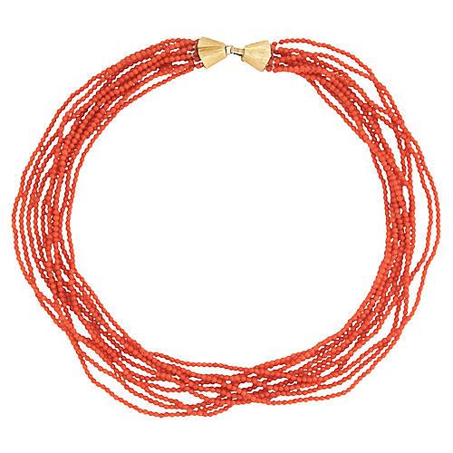 10 Strand Micro Coral Necklace