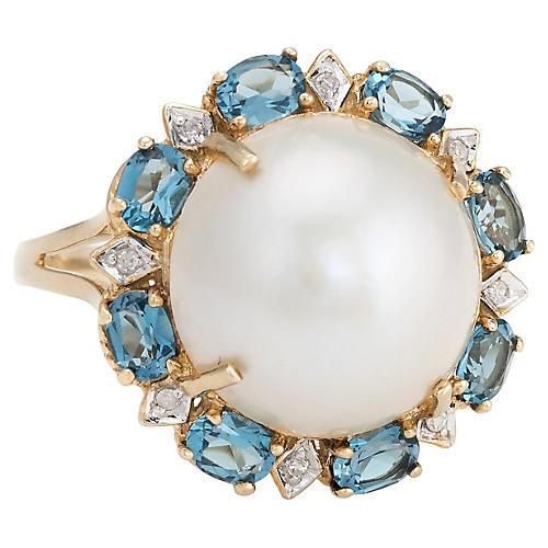Mabe Pearl, Blue Topaz & Diamond Ring