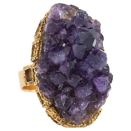 18K Gold & Amethyst Geode Ring