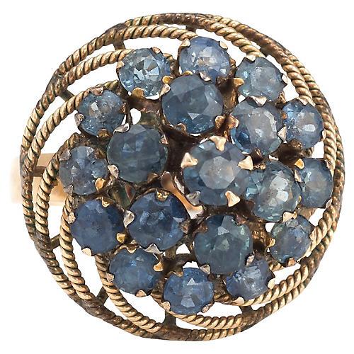 Sapphire Harem Cocktail Ring 14k Gold