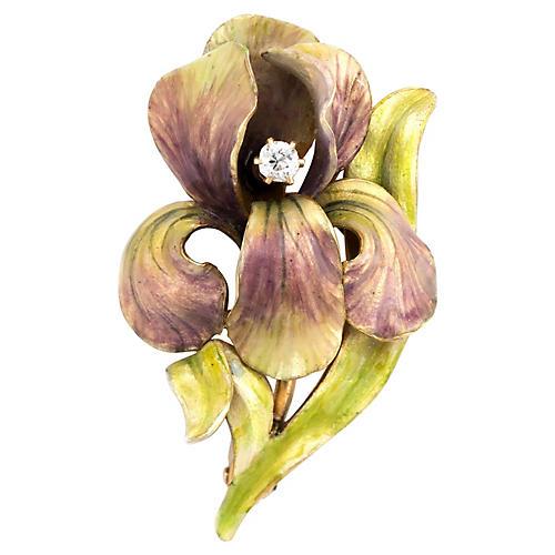 Art Nouveau Iris Enamel Diamond Brooch
