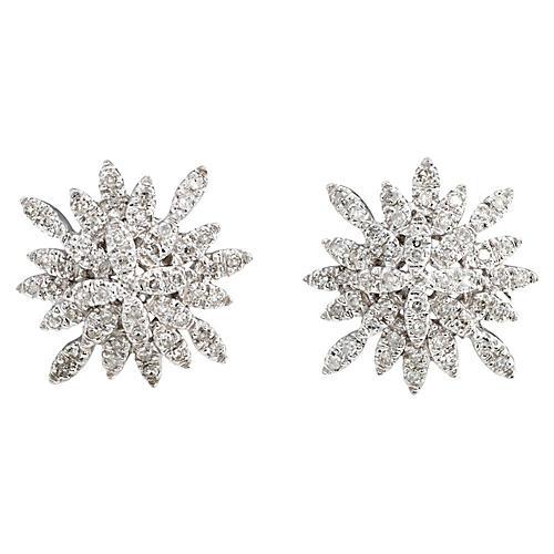 14K Gold & Diamond Snowflake Earrings