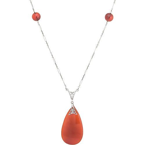 """Art Deco Carnelian 24"""" Necklace"""