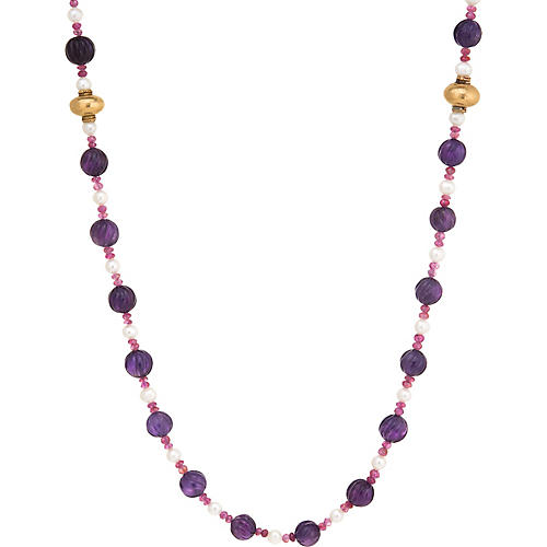 Fluted Amethyst Ruby Pearl Necklace 42""