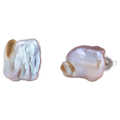 14K Mismatched Baroque Pearl Earrings