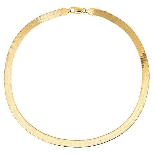 "80s Herringbone Necklace 14k Gold 18"""