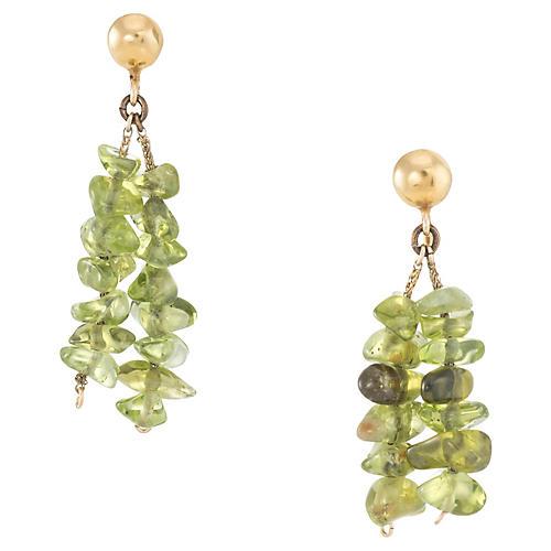 Peridot Drop Earrings 14k Gold