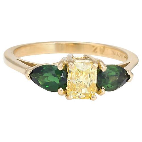 Yellow Diamond & Green Tourmaline Ring
