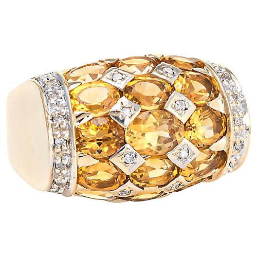 Golden Topaz Diamond Dome Ring