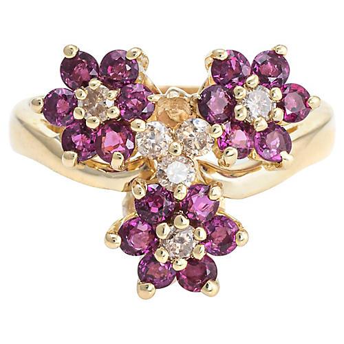 3 Flower Ring Ruby Diamond 14k Gold