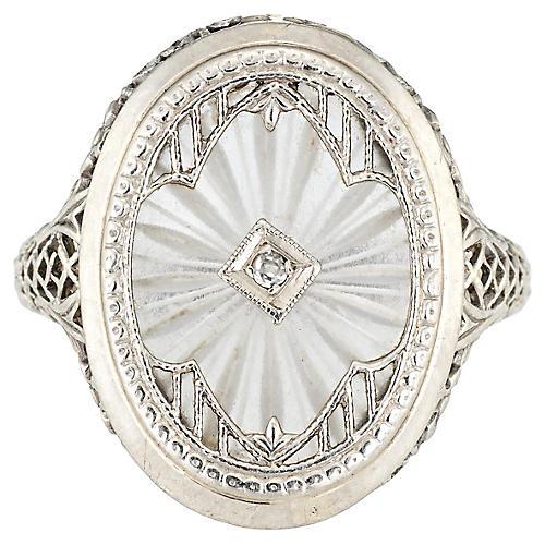 Art Deco Diamond Camphor Glass Ring