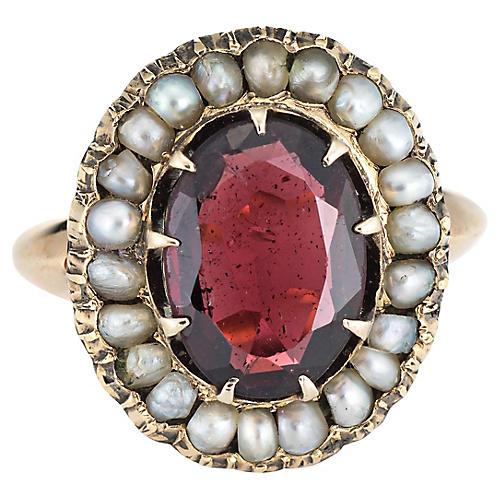 14K Art Deco Garnet Seed Pearl Ring