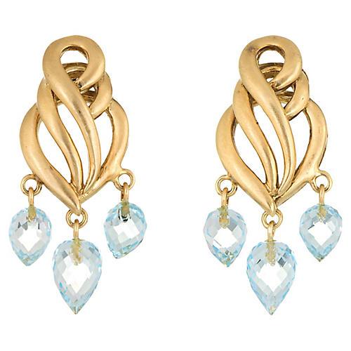 Aquamarine Briolette Drop Earrings 18k