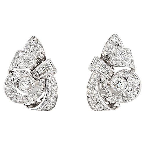 3ct Diamond Earrings Mid Century