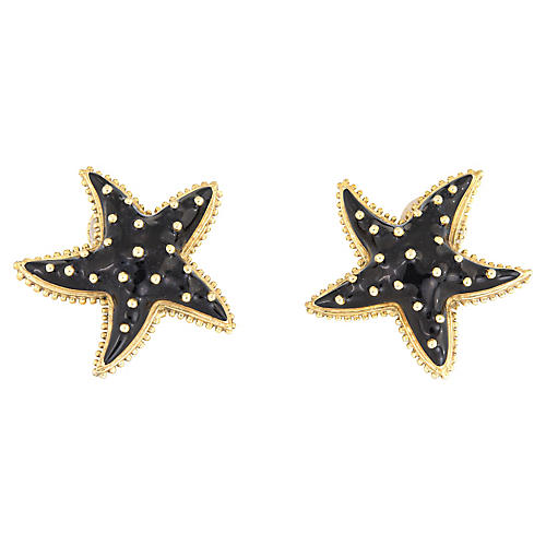 Hidalgo Starfish Earrings Black Enamel