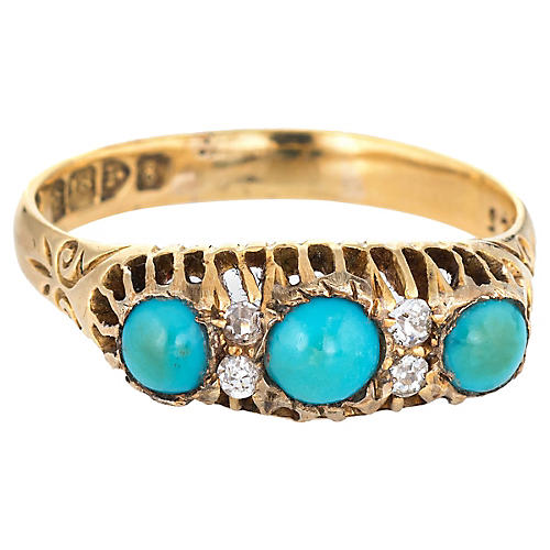 Antique Edwardian Turquoise Diamond Ring