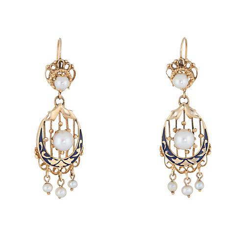 Cultured Pearl & Enamel Earrings