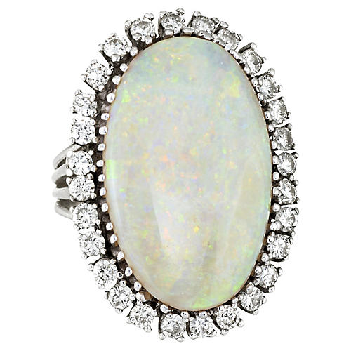 Large Opal & Diamond Cocktial Ring