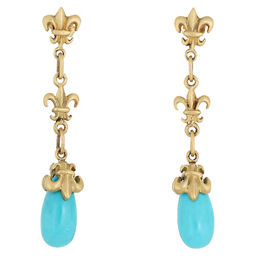 Turquoise Fleur de Lis Drop Earrings 18k
