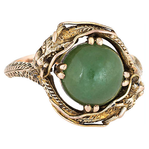 Double Dragon Jade Ring 14k Gold