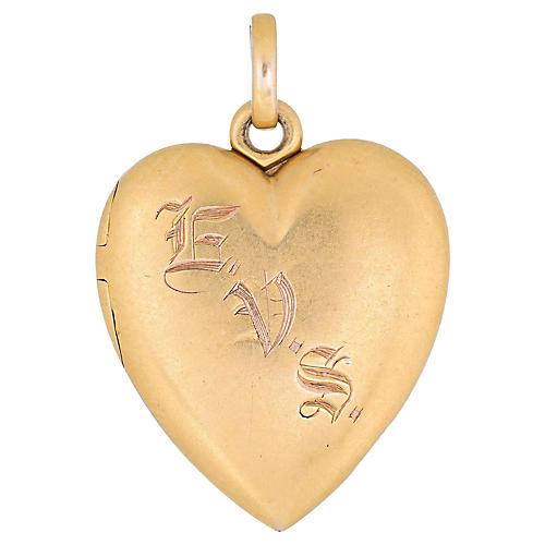 Victorian Heart Locket 14k Gold