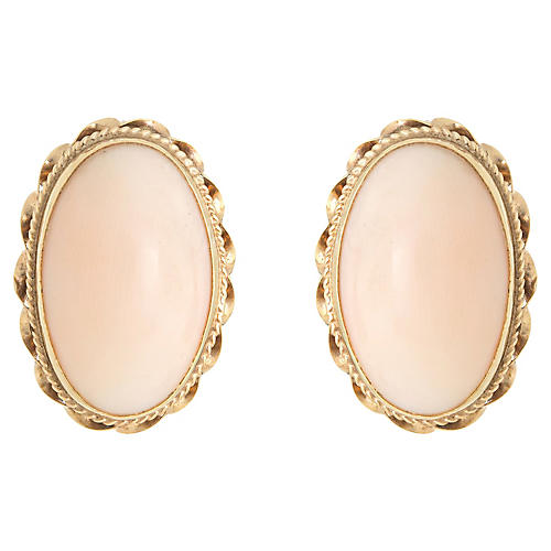 14K Angel Skin Coral Oval Earrings