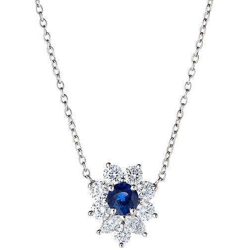 Tiffany Sapphire Diamond Necklace Estate