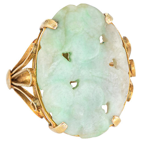 Carved Jade Flower Ring 14k Gold