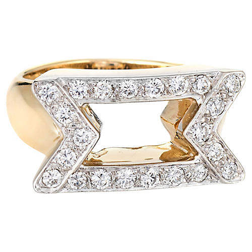 80s Diamond Cocktail Ring 14k Gold