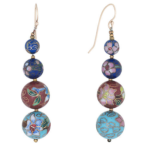 Graduated Cloisonne Earrings 14k Gold