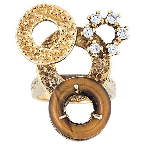 1960s Tigers Eye & Diamond Cocktail Ring