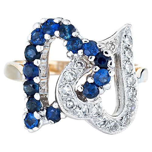 Double Heart Diamond & Sapphire Ring