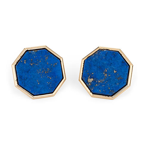 Large Lapis Lazuli Octagon Earrings