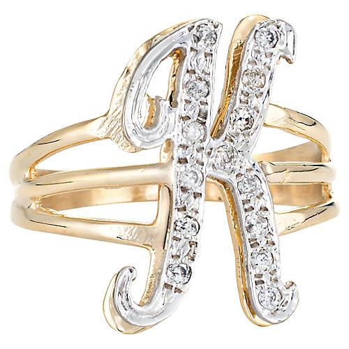 Letter K Initial Ring 14k Gold
