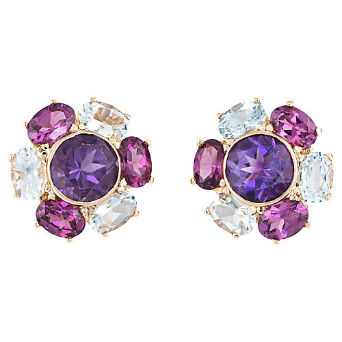 Amethyst Blue Topaz Cluster Earrings