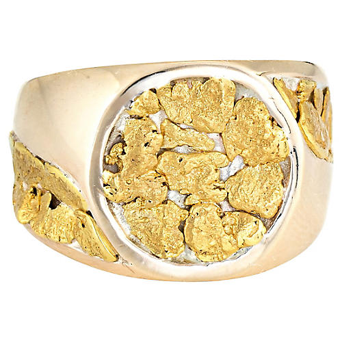 Mens Gold Nugget Signet Ring