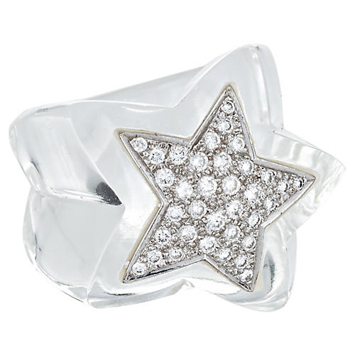 Diamond Star Ring Clear Resin