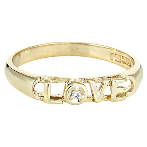 Diamond Love Script Ring 14k Gold